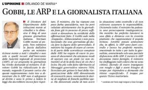 Articolo apparso sul Corriere del Ticino del 5 marzo 2015, scritto dal signor Orlando De Maria